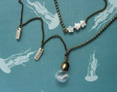 """Long Necklace Jellyfish """"dream of water"""". Miniature in Bottle. Terrarium. Summer necklace."""