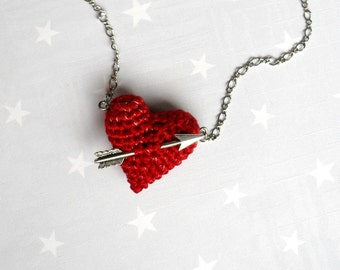 Necklace crochet red heart and arrow. Love necklace.