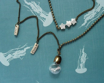 "Long Necklace Jellyfish ""dream of water"". Miniature in Bottle. Terrarium. Summer necklace."