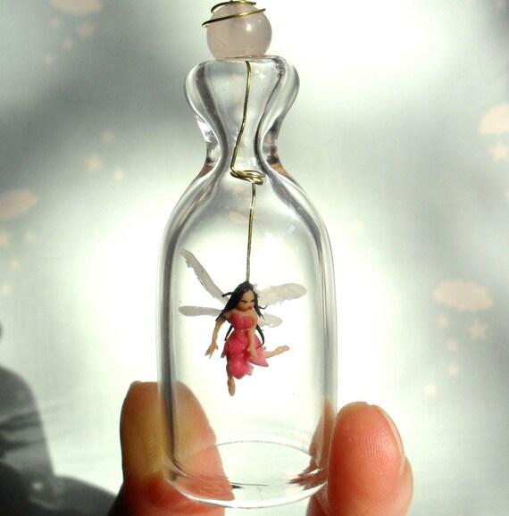 Little Pink Fairy. Valentine Gift. Miniature under glass bell.
