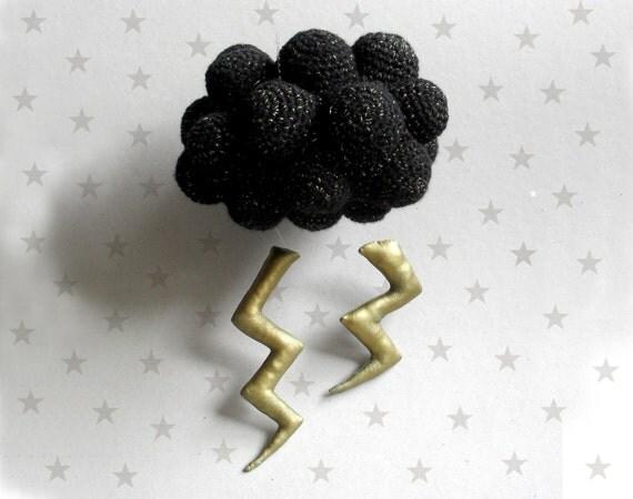 Winter Black Cloud with lightning - Black storm - crochet Mobile