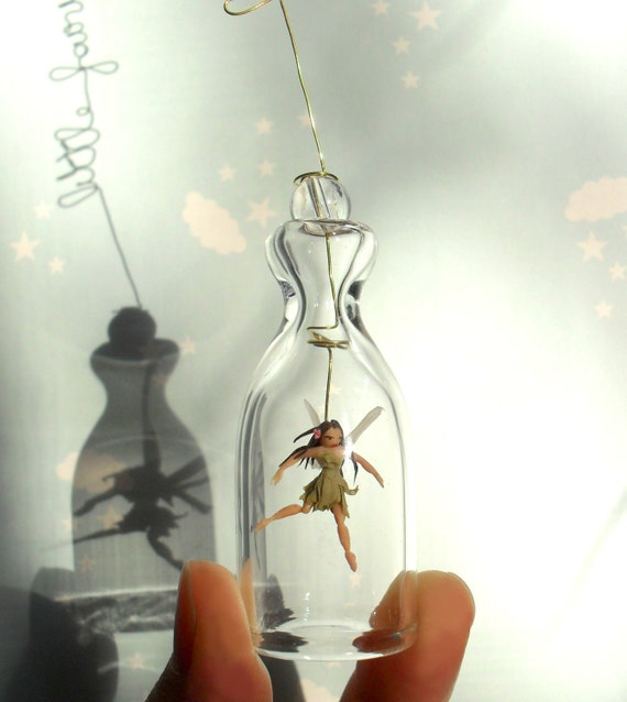Little greenFairy. Spring ornament. Miniature under glass bell.