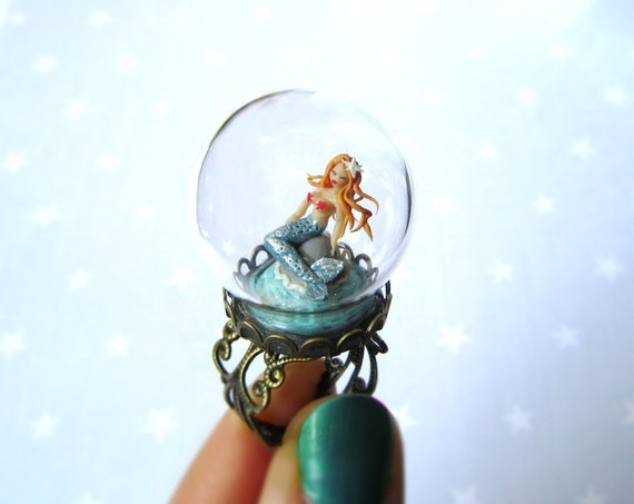 Summer Ring. Mermaid under a glass dome on a ring. Terrarium ring. Love ring.