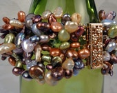Keshi Pearl Multi Color Multi Strand Statement Bracelet with 14K Gold Clasp, AAA Luster, Artisan Handcrafted in America