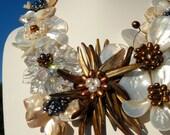 Opulent Pearl Flower Statement Necklace, OOAK Artisan Handcrafted in America, Boho Chic Bride Wedding