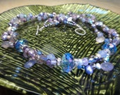 Blue & Lavender Chalcedony, Amethyst, Pearl, Crystal, 3 Strand, Sterling Silver Statement Necklace, Artisan Handcrafted in America