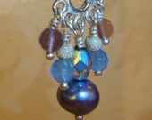 Blue Chalcedony, Amethyst, Pearl, Crystal, Sterling Silver Earrings, Artisan Handcrafted in America
