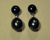Black Freshwater Pearls Sterling Silver Post Earrings, AAA Quality Luster, Artisan Handcrafted in America