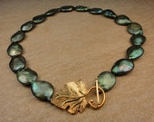Genuine Green Pearl Statement Necklace with 18K Gold vermeil Clasp, OOAK Artisan Handcrafted in America