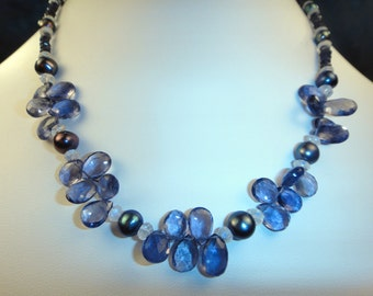 Faceted Iolite, Rainbow Moonstone, Akoya Pearls, Sterling Silver Statement Necklace, OOAK Artisan Handcrafted in America