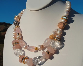 Rose Quartz, Clear Quartz, 12 mm Pearl, Gold & Sterling Silver, Double Strand Statement Necklace, OOAK Artisan Handcrafted in America