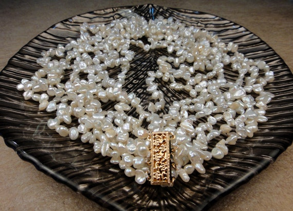 White Ivory Keshi Pearl Multi Strand Statement Necklace, 14K Gold Floral Clasp, AAA Luster, Artisan Handcrafted in America, Bride Wedding
