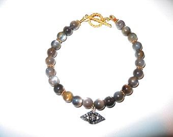 Natural Sunstone Bead Bracelet with Diamond Evil Eye Charm
