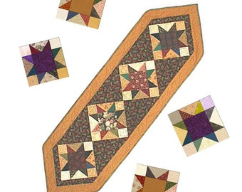 Quilted Table Runner Pattern  - Scrappy Star Table Runner  Easy PDF INSTANT DOWNLOAD