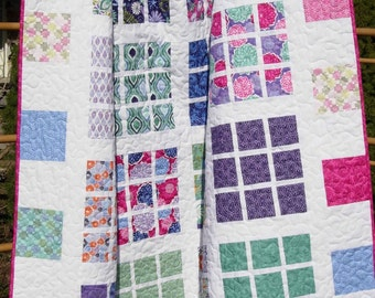 Quilt Pattern - Easy Layer Cake - Fat Quarter Friendly  --  PDF INSTANT DOWNLOAD  -  Apartment Nine Quilt Pattern