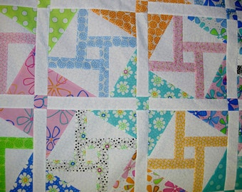 PDF INSTANT DOWNLOAD Quilt Pattern  -  Double Dutch - Crib - Throw or Twin - Layer Cake and Fat Quarter Friendly