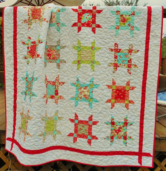 Quilt Patterns - Rubys Ribbon Box Quilt Pattern - Layer Cake or Fat Eighth Friendly - Crib or Throw Sizes