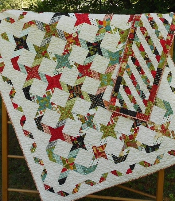 Quilt Pattern - Twisting With The Stars - - Layer Cake or Jelly ... : twisted star quilt block - Adamdwight.com