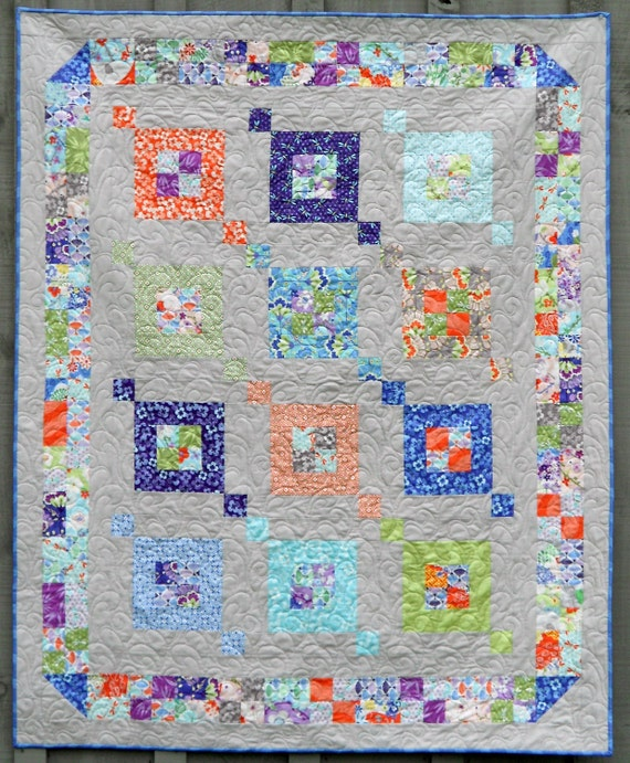 Modern Quilt Pattern - Fair & Square - Sizes Crib to Queen-  Layer Cake or Jelly Roll -  EASY