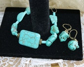Turquoise Set in Bronze Antique Free Shipping