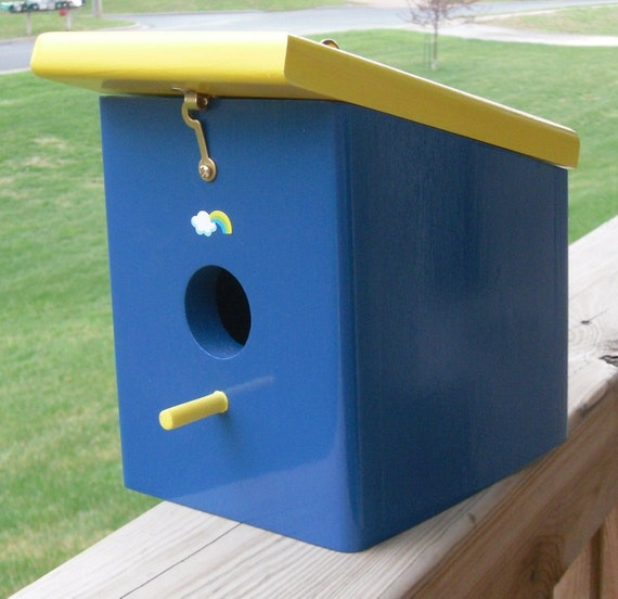 SALE ITEM Price as marked Wood hanging royal blue bird house