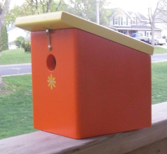 SALE ITEM Price is marked Wood Hanging Orange Burst bird house