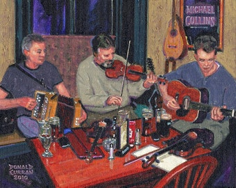 Color Print of Oil Painting, Pub Gettin' Down, Ireland