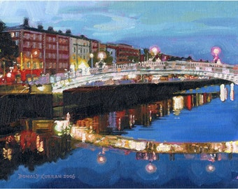 Color Print of Oil Painting, Dublin Irish Scene 41, Ireland