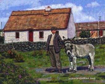 Color Print of Oil Painting, Farmer Cottage Irish Scene 176, Ireland