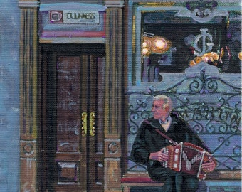 Color Print of Oil Painting, Pub Street Scene 84, Ireland