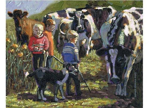 Color Print of Oil Painting, Irish Cowboys Scene 22, Ireland