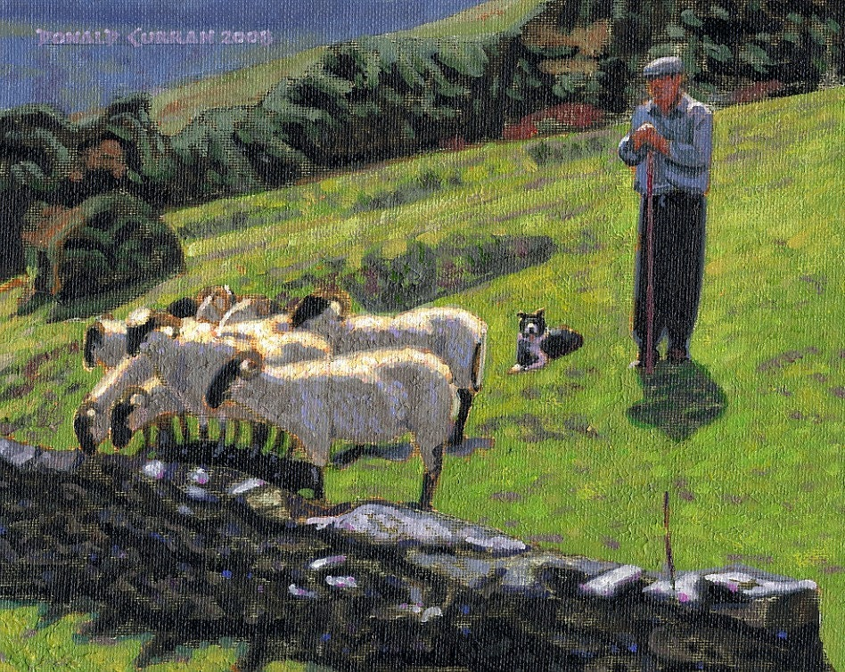 Color Print Of Oil Painting Shepherd Irish Scene 172 Ireland
