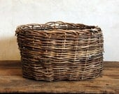 Folk Art Twig Basket - Antique Woven Basket