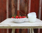 Vintage Milk Glass Berry Bowl Set // Anchor Hocking Milk Glass Bubble Pattern