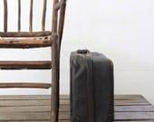 Black Leather Suitcase / Vintage Luggage