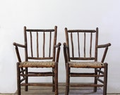 Antique Woven Chairs / American Rustic Lodge Chairs - 86home