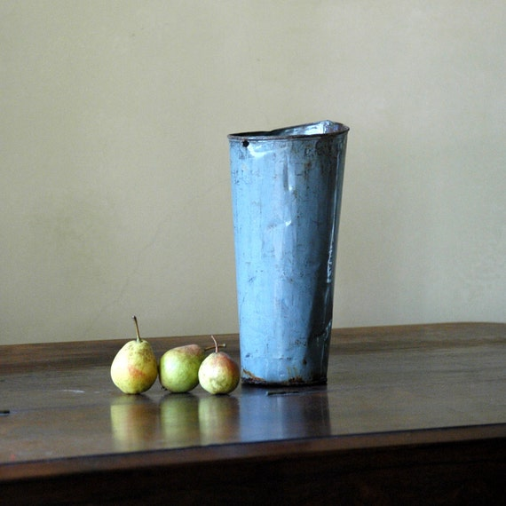 Antique French Tin Bucket // Slender Vase