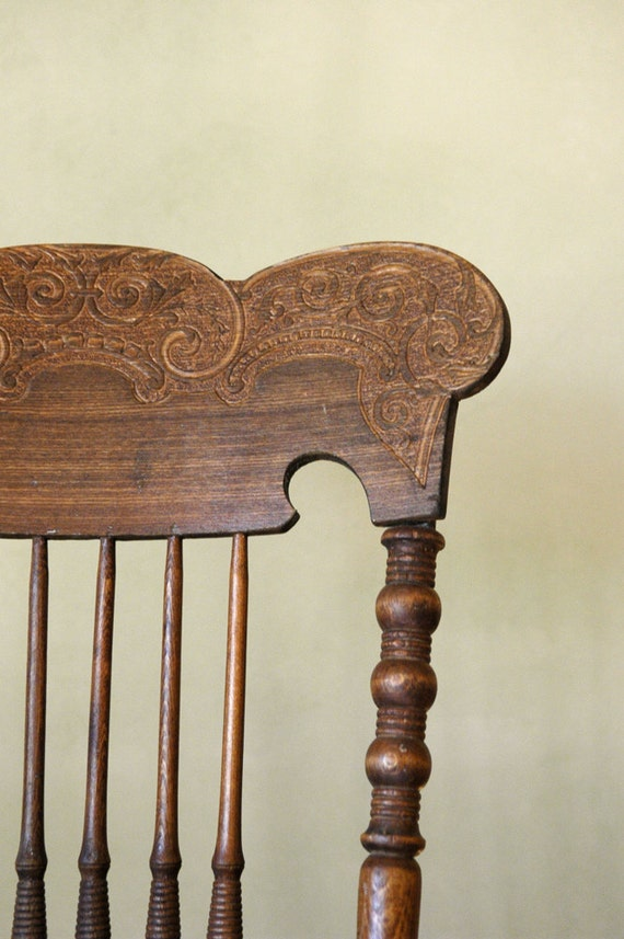 Antique Lodge Chair Pressed Back Spindle Chair
