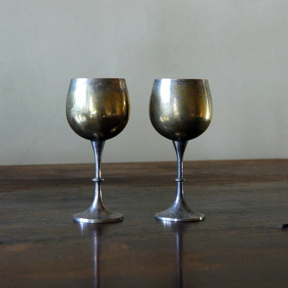 Antique Silver Goblets // Silver Plate