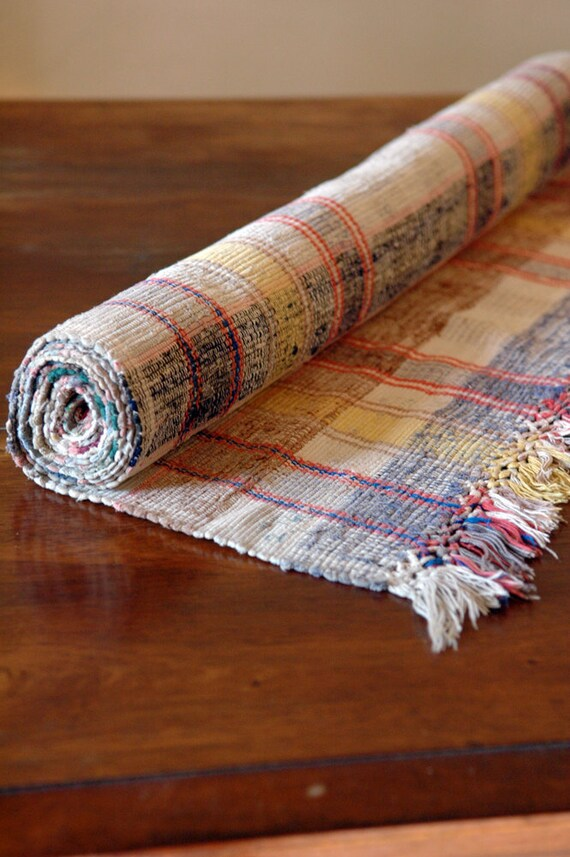Vintage Rag Rug // Scandinavian Floor Runner // 7.5 feet