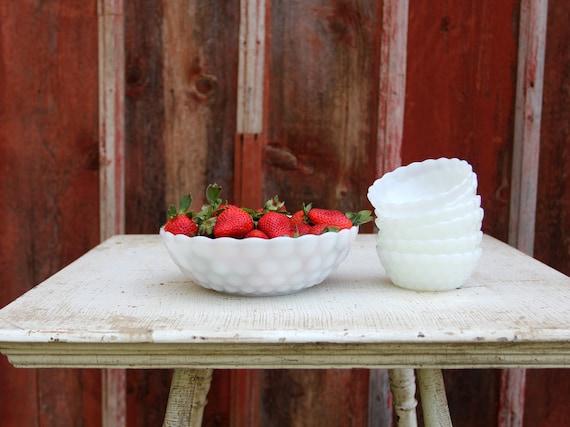 Vintage Milk Glass Berry Bowl Set // Anchor Hocking Milk Glass Bubble Pattern