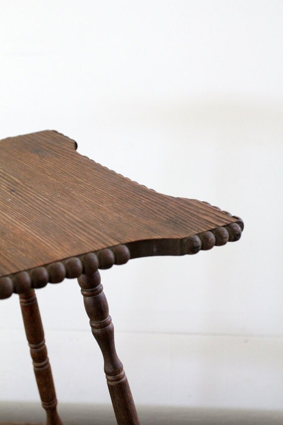 Primitive Wood Table // Carved Wood End Table