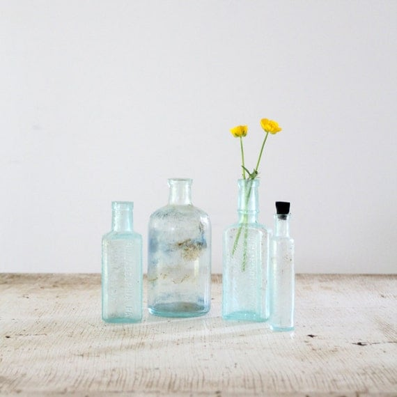 Antique Glass Bottle Collection // Blue Glass Bottles