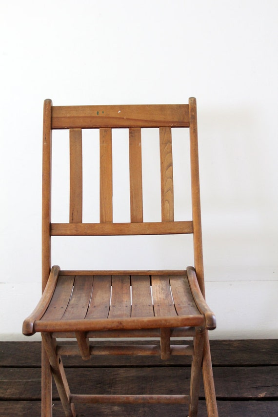 sale vintage wood folding chair camp chair slat wood