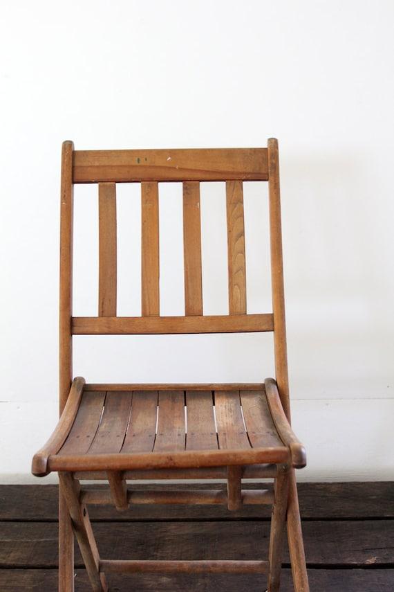 Vintage Wood Folding Chair Camp Chair Slat Wood Chair