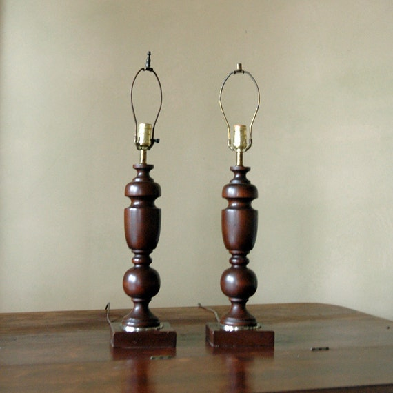 1940s Wood Table Lamps // Vintage Lighting