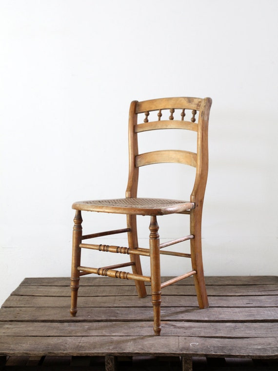 Cane Seat Chair // Antique Wood Chair