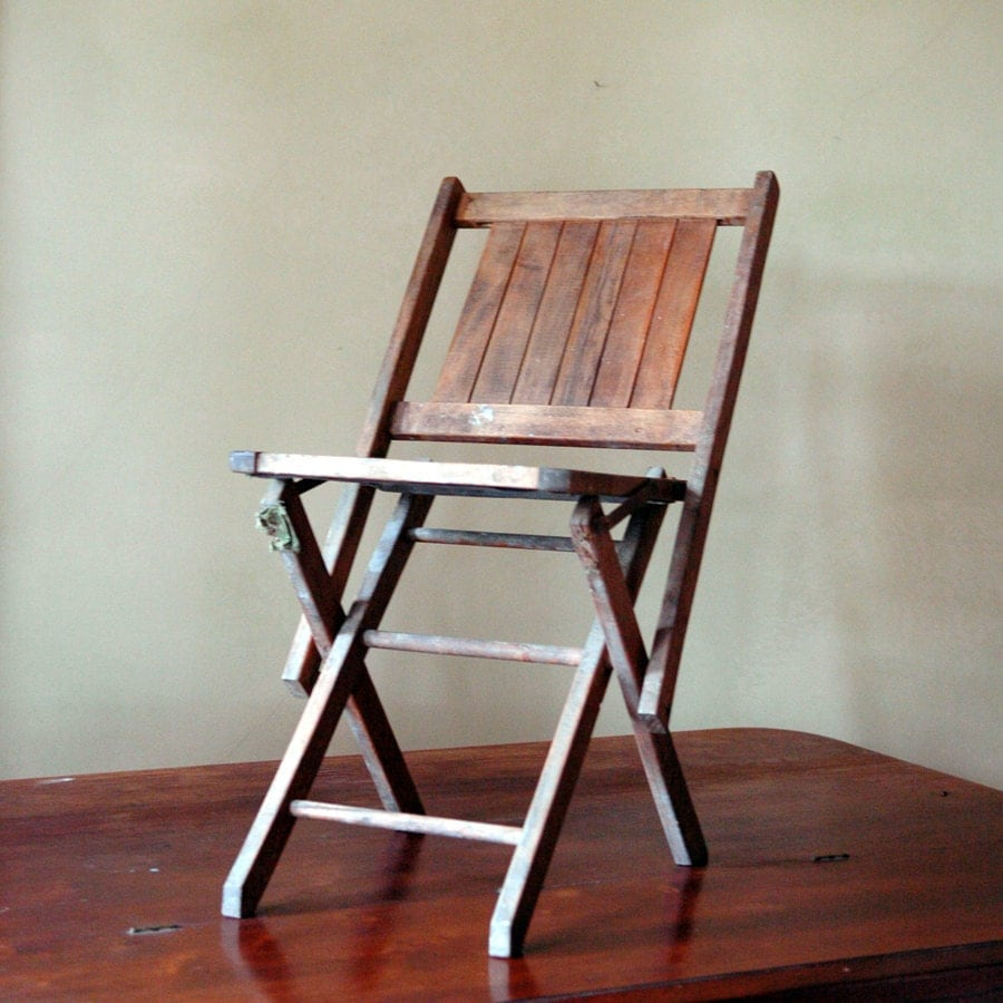 Vintage Wood Folding Chair Fold Up