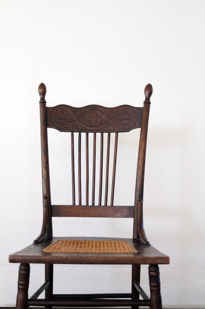 Antique Wood Chair Caned Seat Chair