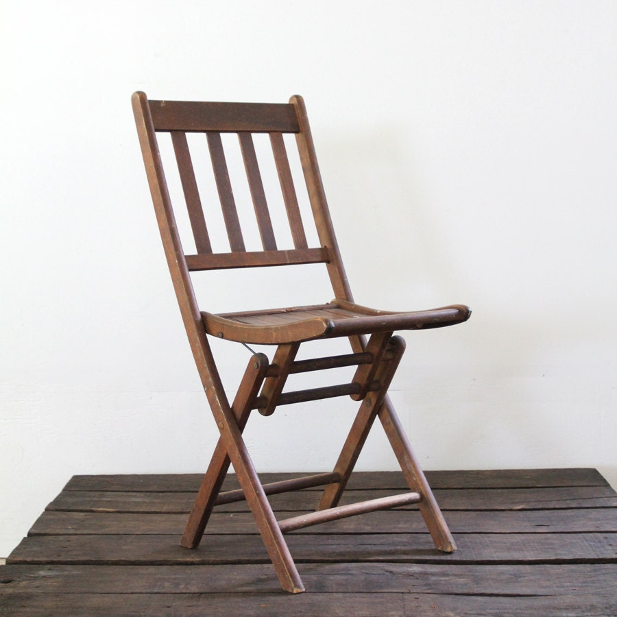 Wood Folding Chairs ~ Wood folding chair vintage slat